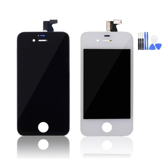 iPhone 4s Black & White LCD Screen Assembly Side By Side Front